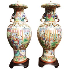 Very Large Pair of Chinese Porcelain Rose Mandarin Lamp Bases