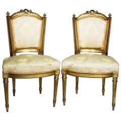 Pair of French 19th Century Louis XVI Style Giltwood Carved Boudoir Side Chairs