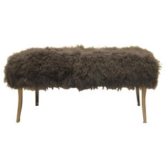 Custom Made Bench Upholstered with a Charcoal Curly Lamb's Wool Skin