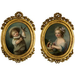 Pair of Oil Paintings, French School, After François-hubert Drouais