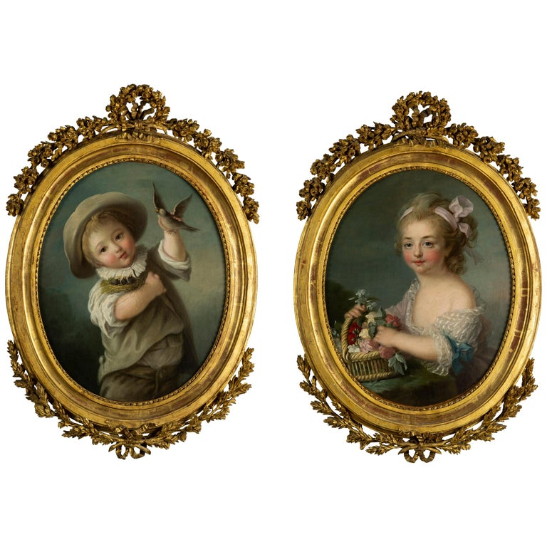 Pair of Oil Paintings, French School, After François-hubert Drouais For Sale