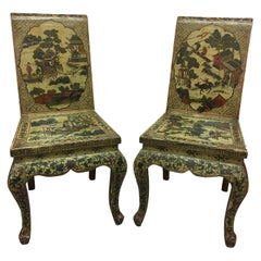 Pair of Japanned or Chinoiserie Painted Chinese Chairs, circa 1940