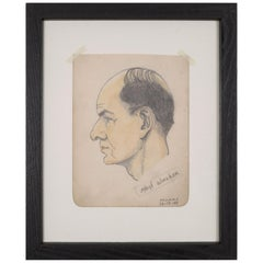 """Sketched Profile of Man """"S/Sgt Walker"""" by Thomas, circa 1943"""