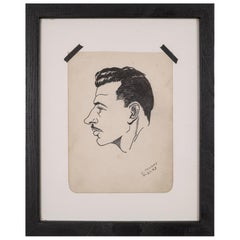 World War Era Sketched Profile of Man by J. Thomas, circa 1943
