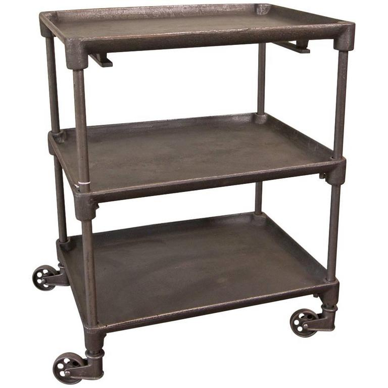 Vintage Cast Iron And Steel Serving Rolling Bar Cart Table For