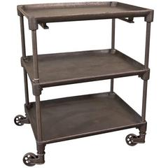 Vintage Industrial Cast Iron and Steel Cast Iron Serving, Rolling Bar Cart Table