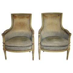 French 19th Century Pair of Bergere Chairs