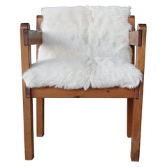 Pine and Cowhide Chair, 1970s