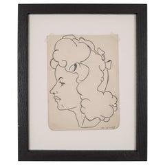 World War Era Sketched Profile of Woman by J. Thomas, circa 1943