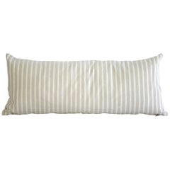 19th Century Natural French Ticking Lumbar Pillow