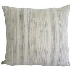 Antique Homespun Linen and Striped Grain Sack Pillow Light Grey