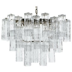 Oval 1970s Italian Glass Tube Tiered Chandelier
