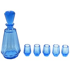 European Blue Crystal Liquor or Spirits Decanter and Glasses after Moser