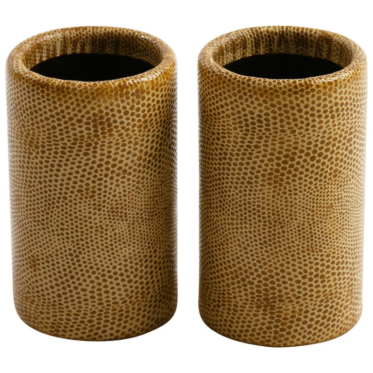 Pair of Karl Springer Lizard Skin Dice Cups For Sale