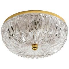 Lightolier German Glass and Brass Flush Mount Chandelier