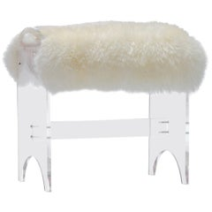 1970s Sheepskin and Lucite Vanity Stool
