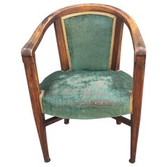 Art Deco Armchair, in Wood Painted Faux Wood Decor, circa 1925