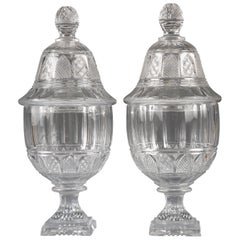 Lovely Pair of Crystal Covered Vases Attributed to Baccarat