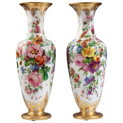 Beautiful Pair of Opal Glass Vases Attributed to Baccarat