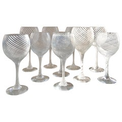 Set of 12 Small and 12 Large Murano Wine Glasses Attributed to Venini