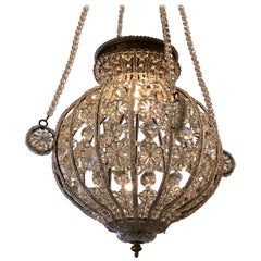 Romantic Crystal Spherical Chandelier Pendant with Florets