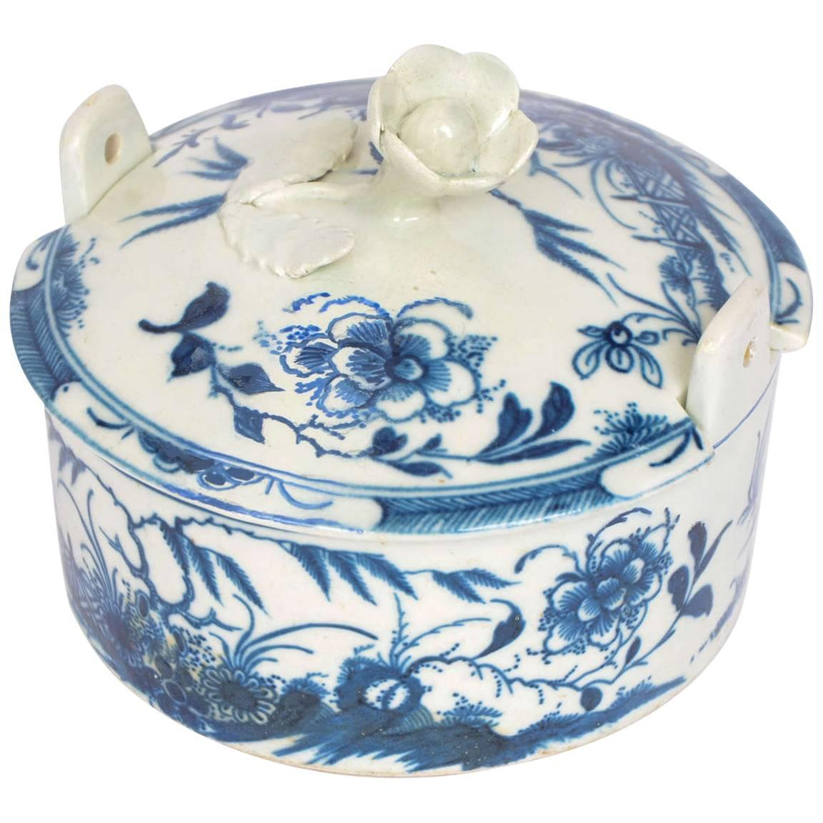 Rare, First Period, Worcester Blue and White, Porcelain Butter Tub ...