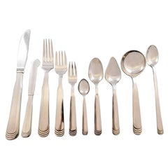 Ripple by Hans Hansen Danish Sterling Silver Flatware Set 8 Service 84 Pc Dinner