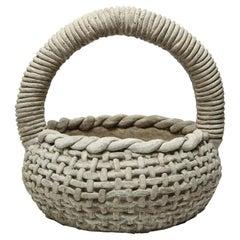 Faux Bois Planter Basket Cast-Stone Organic Modern Twist Handle Garden Sculpture