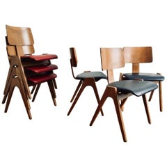 Exceptionally Rare Set of 6 Robin Day Hillestak Chairs, 1950s