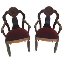 Maurice Dufrene, Pair of Walnut Burl and Amaranth Wood Armchairs, circa 1925