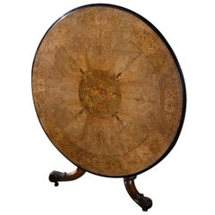 19th Century Victorian Walnut and Satinwood Marquetry Circular Tilt-Top Table