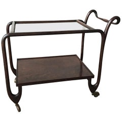 Italian Bar Cart or Trolley with Curved Mahogany and Clear Glass on Top, 1940s