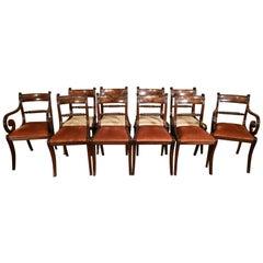 Very Attractive Set of Ten Harlequin Regency Dining Chairs