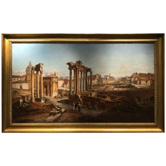 19th Century Painting Italian Vincenzo Giovannini View of the Forum Romanum