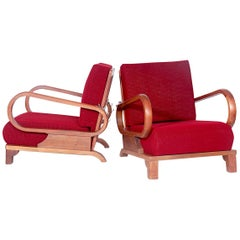 Set of Two Beautiful Positioning Armchairs by Jindrich Halabala, 1970s