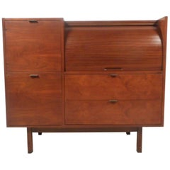 Mid-Century Modern Roll Top Secretary Desk by Hooker