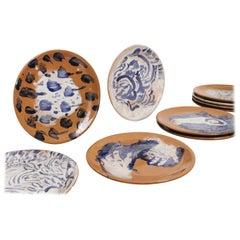 Mexican Majolica Ceramic Plate Set Handmade Mid-Century Modern Clay Blue White