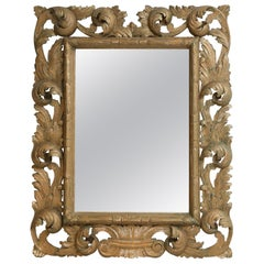 Rococo-Style Distressed Acanthus Leaves Carved Mirror
