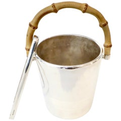Gucci Silverplate Ice Bucket With Bamboo Handle and Ice Tongs Signed