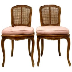 Mid-Century Pair Of French Style Carved Wood & Cane Chairs