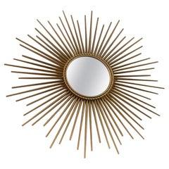 Elegant Gilded Metal Framed Sunburst Mirror by Chaty Vallauris, France, 1960s