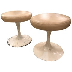Pair of Cool Mid-Century Modern Tulip Base Leather Top Stools