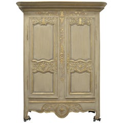 Louis XV Style Highly Decorative Painted Armoire with Gilt Details, 5 Shelves