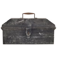 Sheet Metal Toolbox with Woven Copper Handle, circa 1930