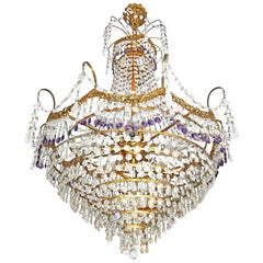 French Hollywood Regency Empire,Amethyst Cut Crystal & Bronze 8-Light Chandelier