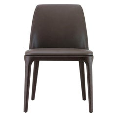 Poliform Grace Dining Chair without Arms in Fabric or Leather & Solid Wood Base