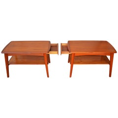 Pair of Quality Teak Side Tables or Nightstands by Svend Madsen W/Shelf & Drawer