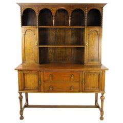 Antique Oak Welsh Dresser, Oak Hutch, Buffet, Scotland 1910, Antiques