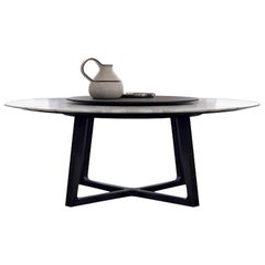 Concorde Dining Table with Spinning Tray, 4 Wood Bases and 6 Marble Top Options