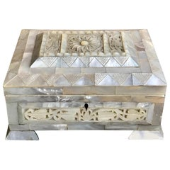 Antique English Carved Mother of Pearl Table Box with Key